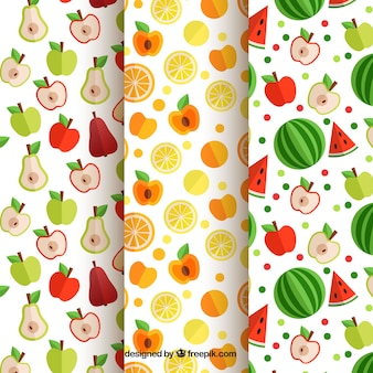 Set de tres patrones de frutas planos