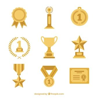 Set de trofeos en diseño plano