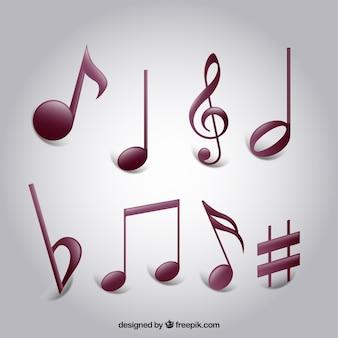 Set de variedad de notas musicales