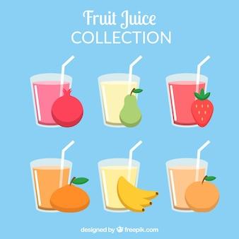 Set de vasos planos con zumos de fruta