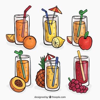 Set de zumos de fruta dibujados a mano