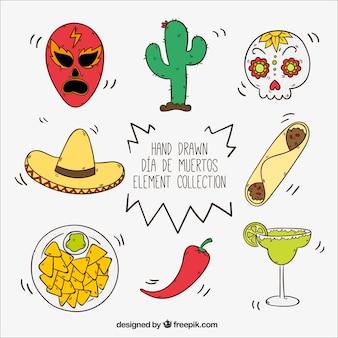 Set dibujado a mano de artículos mexicanos