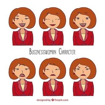 Set dibujado a mano de mujer de negocios expresiva