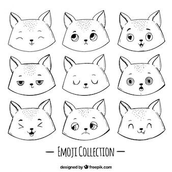 Set fantástico de emoticonos de gato dibujados a mano