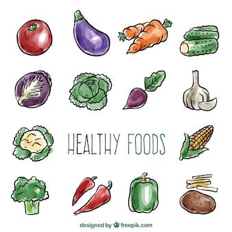 Set fantástico de hortalizas saludables de acuarela