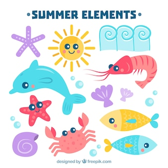 Set lindo de animales marinos