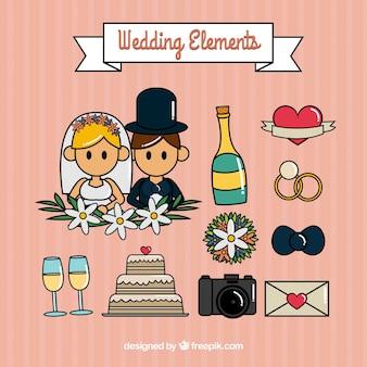 Set lindo de geniales elementos de boda