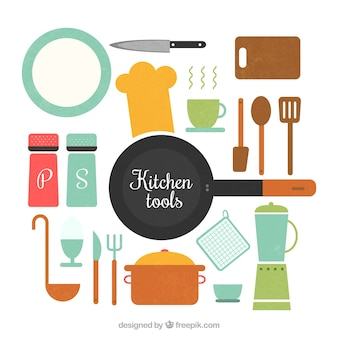 Cubiertos vector set descargar vectores gratis for Set de utensilios de cocina facusa