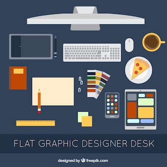Set plano de elementos de escritorio de diseñador gráfico