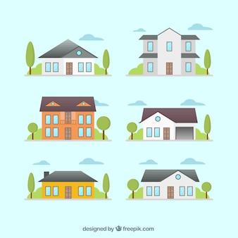 Set plano de fachadas de casas decorativas