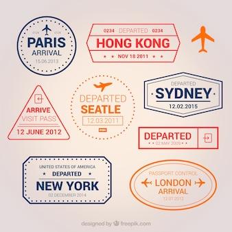 Set plano de sellos de ciudades de colores