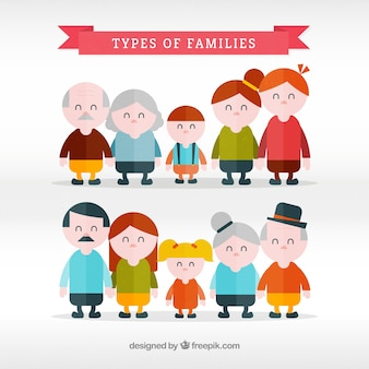 Set plano de tipos de familia