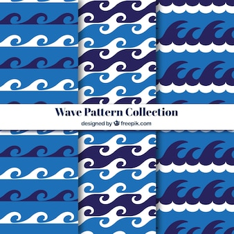 Set plano de tres patrones de olas con detalles blancos