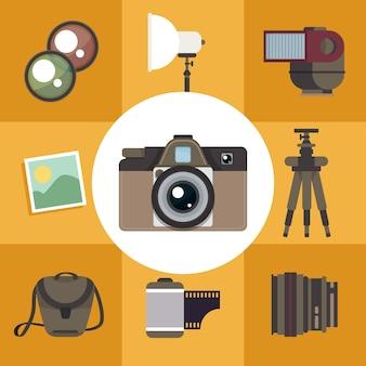 Set vintage de cámara