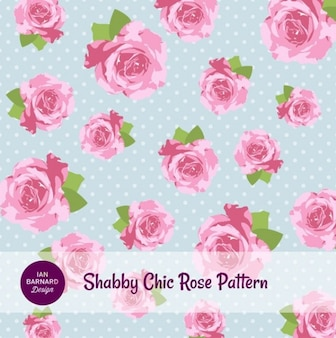 Shabby rosas rosadas vectoriales sin fisuras