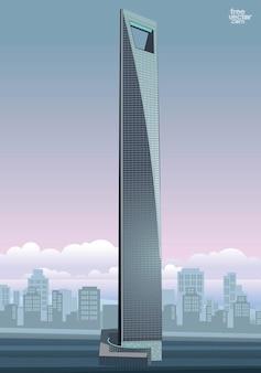 Shanghai torre rascacielos vector de construcción