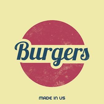 Signo de hamburguesería vintage