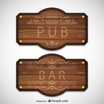 Signos de madera de pub y bar
