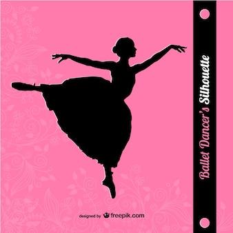 Silueta de bailarina sobre fondo rosa