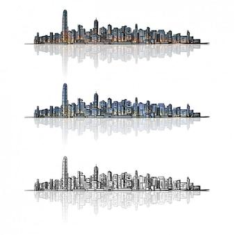 Silueta de ciudad en diferentes colores
