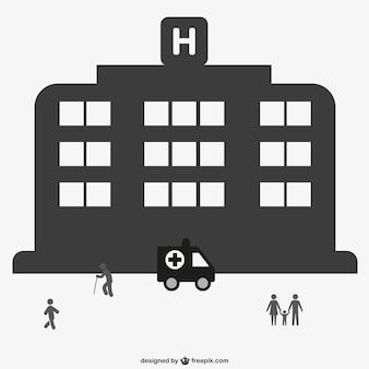 Silueta de edificio de hospital