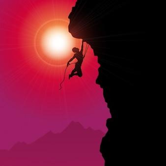 Silueta de escalada de montaña