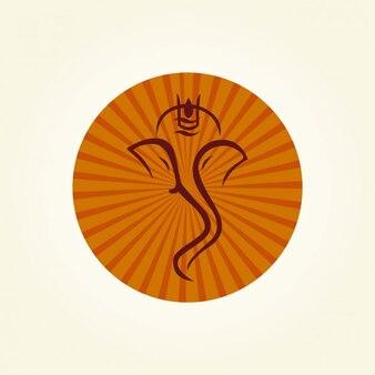 Silueta de Ganesha dentro de un círculo