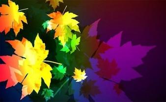 Silueta de hojas de colores de fondo de otoño