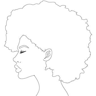 Silueta de mujer con el pelo rizado