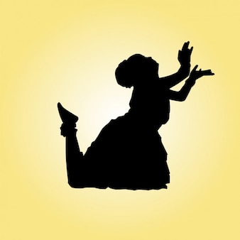 Silueta de pose de bailarina india