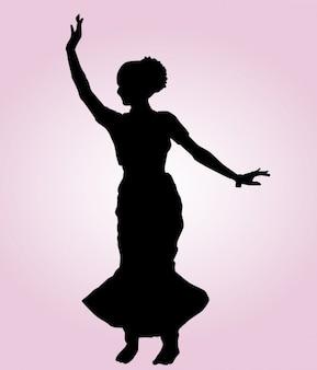 Silueta de pose de baile indio