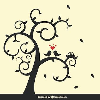 Silueta de árbol y pájaros