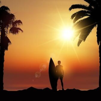Silueta de surfista en paisaje tropical