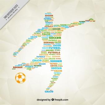 silueta jugador de fútbol formado por palabras