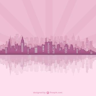 Silueta rosa de ciudad