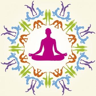 Siluetas coloridas de posturas de yoga
