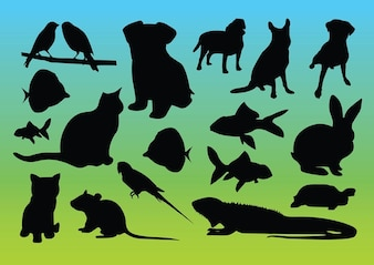 siluetas de animales vectores
