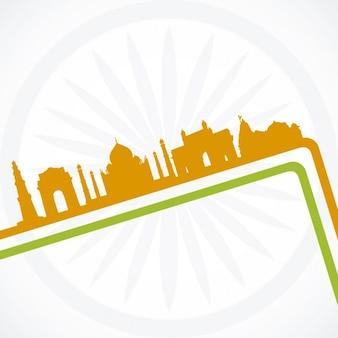 Siluetas de edificios de India
