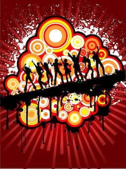 Siluetas de gente bailando sobre fondo grunge