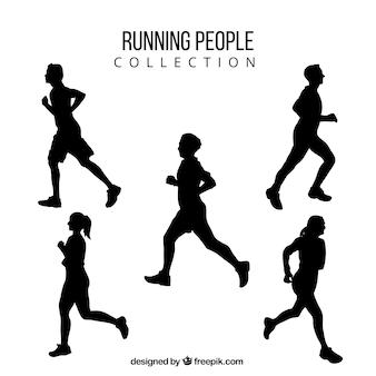 Siluetas de hombres y mujeres corriendo
