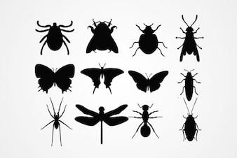 Siluetas de Insectos Vectores