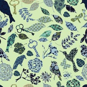 Siluetas de la naturaleza rellenas de patrones abstractos