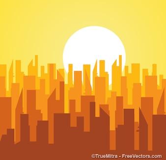 Siluetas de los edificios de la salida del sol