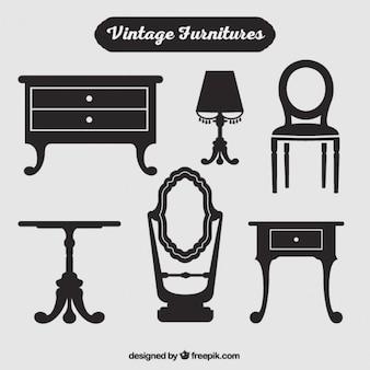 Siluetas de muebles vintage