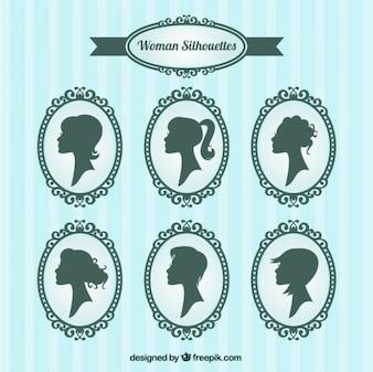 Siluetas de mujer dentro de marcos ornamentales