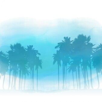 Siluetas de palmeras en un fondo de lavado de acuarela