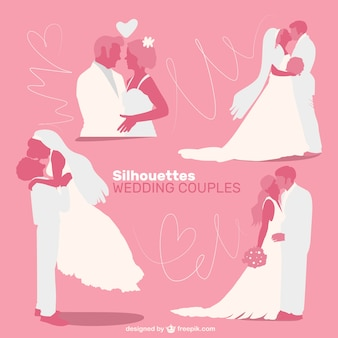 Siluetas de parejas de boda