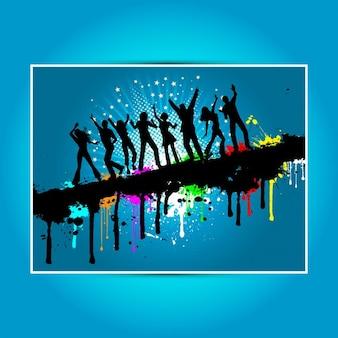 Siluetas de personas bailando sobre fondo grunge