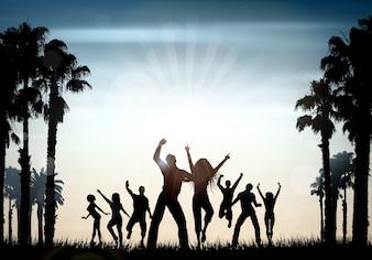 Siluetas de personas bailando sobre un fondo de verano