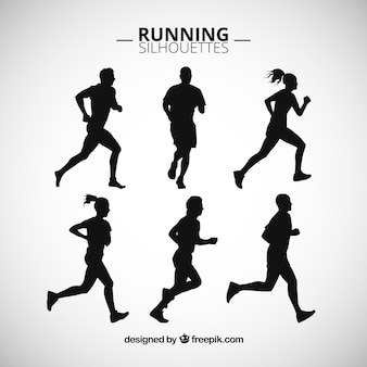 Siluetas de personas corriendo